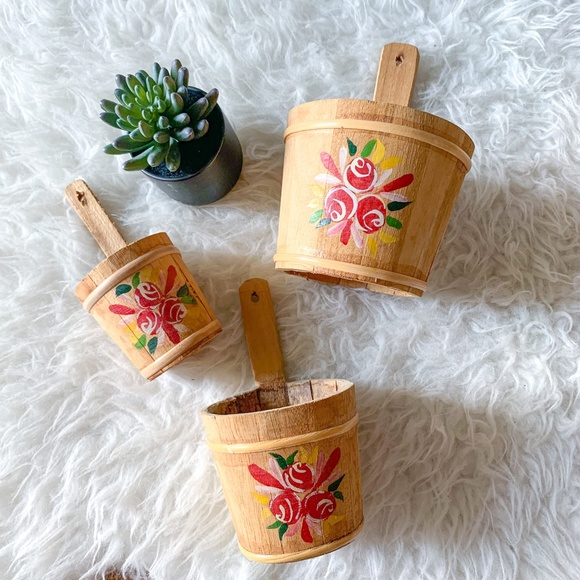 3 Vintage Wooden Hand Painted Floral Planters